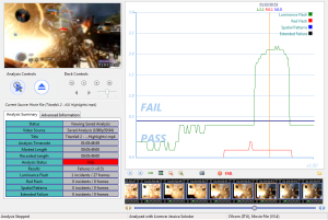 When the area on the screen lit by a flash and the time interval between flashes exceed guidelines for seizure reduction, the image sequence fails the assessment. This screen shows test results for Titanfall 2.