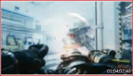 A problem sequence in Call of Duty: Infinite Warfare is created by a flicker effect of changing background light in this scene.
